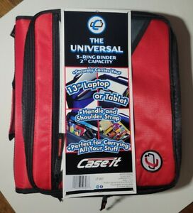 """Case It The Universal 2 Inch 3 Ring Binder Red 13"""" Laptop Tablet Pouch NEW"""