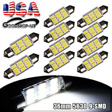 10X White 36mm 5630 9SMD Festoon Dome Map License Plate LED Light Bulbs C5W 6418