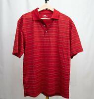 PGA Tour Mens Large Red/Black/White Striped Golf Polo Shirt EUC Size Large L