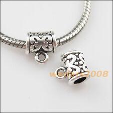 10 New Tibetan Silver Tone Tube Charms European Bail Bead Fit Bracelet 10.5x11mm