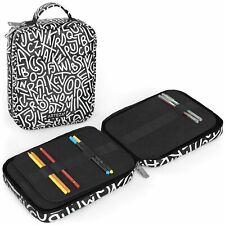 ARTEZA Pencil Case, Black & White Pattern - 64 Slots