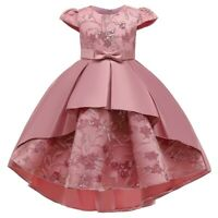 Girl's Flower Princess Dress Party Evening Gown Kids Embroidered Dress Xmas Gift