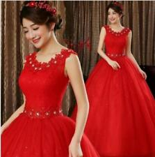 Red Lace Deco Princess Bridal Wedding Dresses Bride Weding Frock Ball Gowns Sexy