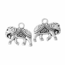 15 x Indian Elephant Tibetan Silver 20x17mm Charms