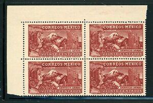 MEXICO MNH Air Post BLOCK Selections: Scott #C132 20c Brown Carmine WMK272 CV$3+