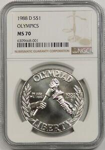 1988-D Olympics Seoul $1 NGC MS 70 Modern Commemorative Silver Dollar