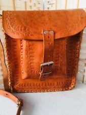 Vintage Retro 1970sHippy Festival Tan Leather Embossed Cross Body Satchel Bag