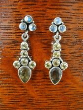 Citrine Yellow Rainbow Moonstones Dangle Sterling Silver 925 Pierced Earrings
