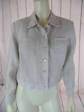 TALBOTS PETITES Blazer 4 Beige Heather Irish Linen Crop Shorty Button Front CHIC