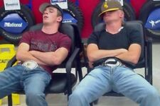 Muscular Country Dudes Belt Buckles Sleeping In Tire Shop PHOTO 4X6 D695