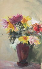 1970 WATERCOLOR FLORAL PAINTING IMPRESSIONIST STILL LIFE SIGNED