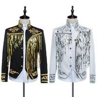 Mens Embroidery Sequin Military Tunic Court Jacket Formal Party Coat Fancy Dress