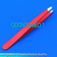"New 2"" Mini Eyebrow Tweezers SLANTED Precision Tips - RED"