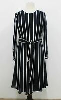 HOBBS Rosemond Ladies Midnight Blue Ivory Pleated Belted Tunic Dress UK12 NEW