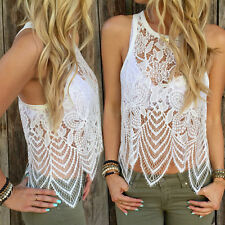 New Sexy Womens Summer Lace Crochet Vest Tops Casual Sleeveless Blouse Shirt New