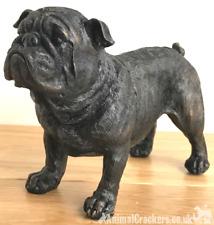 More details for 20cm bronze effect english bulldog ornament figurine bull dog lover gift, boxed