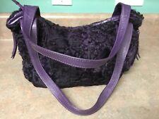 Paolo Masi Small PURPLE  Fur & Leather Tote Handbag Purse (CON15)