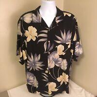 Jamaica Jaxx Mens Hawaiian Camp Aloha Shirt 100% Silk Black Floral Large FS!