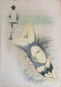 Piero Tredici litografia Qualcosa nel Prato 70x50 firmata numerata 1976 Bisonte