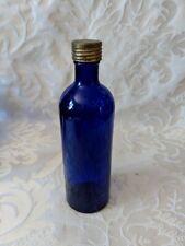 Beautiful Vintage Antique COBALT BLUE Glass Medicine Bottle Marks C