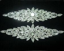 1Pcs Glass Clear Crystal Rhinestone Silver Metal Bridal Costume Applique~Sew On