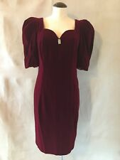 Cache by Bari Protas Vintage Dress Burgandy Velvet Rhinestone 9/10 Sexy Necklin