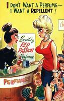 RUDE RISQUE COMIC BUSTY WOMAN & TOO MANY KIDS wants REPELLENT BAMFORTH POSTCARD