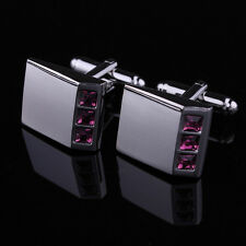 Stainless Steel Silver Mens Exclusive Diamante Rectangle Shirt Wedding Cufflinks