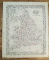 Antique Hand Colored MAP - COUNTY MAP OF ENGLAND AND WALES - 1880