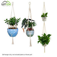 Handmade Macrame Cotton Ropes Plant Hanger Flowerpot Holder Basket Hanging E71F