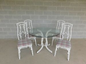 Vintage 5 Piece Faux Bamboo Painted Wrought Iron Patio Set Table 4 Chairs