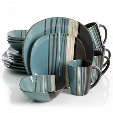 Square Dinnerware Set For 4 Stoneware Kitchen 16 Pcs Plates Bowls Dishes Mug New
