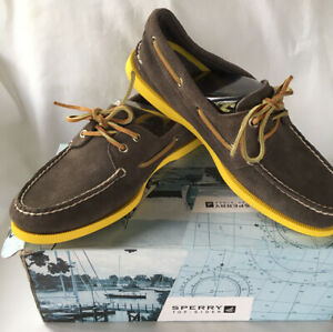 Sperry Top Sider Suede A/O Graphite Sunrise Tan Non-Mark Boat Shoes Mens 8M NIB