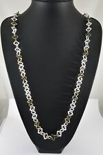 """Unusual  Matt Silver and Antique Brass Textured Squares Link Long Necklace 38.5"""""""