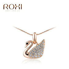 ROXI 18K Rose Gold Plated Austrian Crystal Swan Pendant Necklace  Women  Jewelry