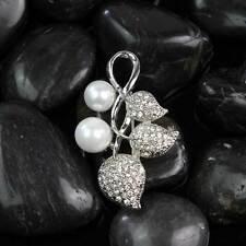 Wedding Bridal Silver Diamante Rhinestone Leaf Pearl Brooch Pins Cute Jewelry