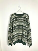 Men's Large Cambridge Classics Green Tan Abstract Print 90s Cosby Style Sweater