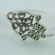 14019 40PCS Mini Vintage Silver Tone Fatima Hamesh Hand Hamsa Hand Pendant Charm