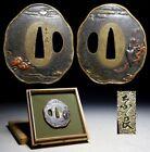 SUPERB Nara Signed Crow Brass Tsuba Japan Original Edo Sword Antique