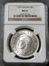 1939 SILVER CANADA ROYAL VISIT $1 DOLLAR COIN NGC MINT STATE 61