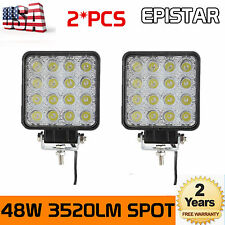 2X48W Square LED Work Light Spot Lamp For Offroad Truck Tractor Boat Bar 12V 24V