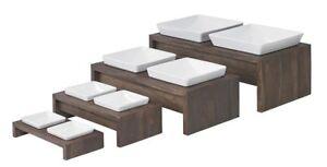 Bowsers Artisan Double Wood Feeder Walnut - Sizes Small; Medium; Large