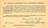 AMERICAN TELEPHONE TELEGRAPH-AT&T ANNUAL MEETING OF STOCKHOLDERS 1960  POSTCARD
