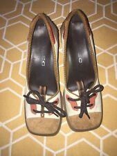 Alec Brand White & Brown Leather & Suede Cone Heels Miu Miu Shoes Funky SZ 5.5