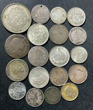 Vintage World Silver Coin Lot - 1808-1952 - 19 Excellent Silver Coins - Lot #M1