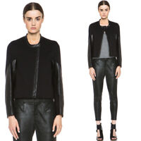 Helmut Lang Women's Sz M Moto Terry Leather Sleeves Contrast Jacket in Black NWT