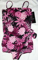 Roxanne Black Pink Bandeau Sarong One Piece Swimsuit Womens Size 16/40D  NWT