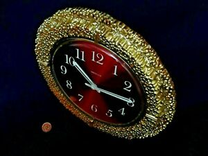 60/70s WESTCLOX WALL CLOCK, Vintage SPACE AGE GOLD GESSO, Retro  BATTERY QUARTZ