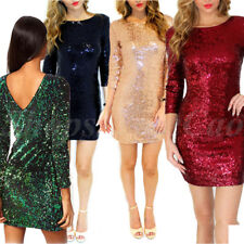 Women 3/4 Sleeve Sequin Cocktail Party Evening Mini Dress Stretch Bodycon Skirt