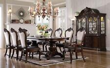 Traditional Cherry Finish Pu & Linen Chairs Dining Table Set 7Pcs McFerran D3600
